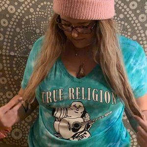 True religion turquoise tie die Buddha shirt M